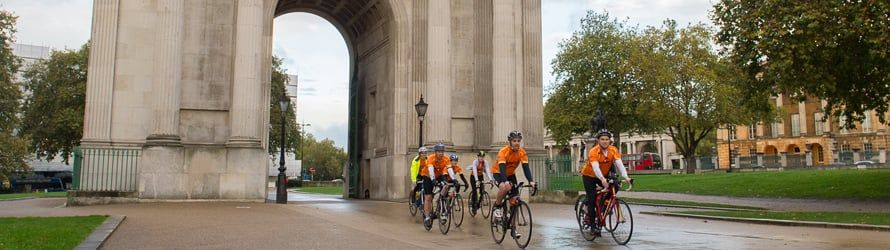 Cyclists arriving in London