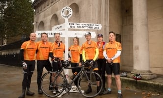 Team Trafalgar at Admiralty with sign