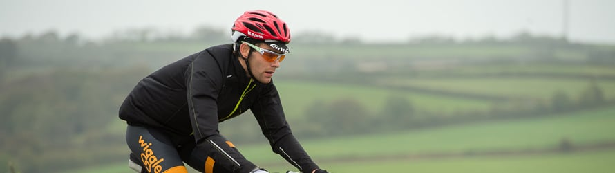Sportive rider riding across Devon